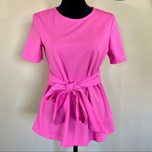 Boutique Hot Pink Baby Doll Tie Waist Keyhole Top